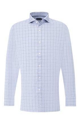 Мужская хлопковая рубашка с воротником кент TOM FORD синего цвета, арт. 5FT026/94F1FE | Фото 1