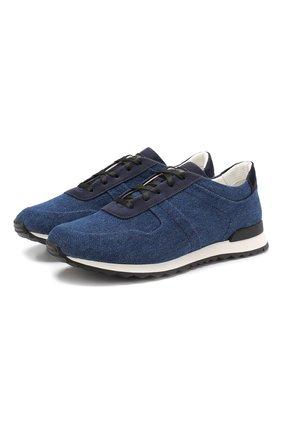 Мужские текстильные кроссовки KITON темно-синего цвета, арт. USSSASHN00040 | Фото 1
