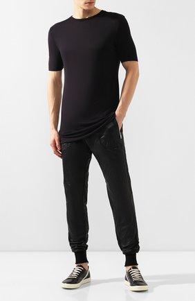 Мужские кожаные джоггеры GIORGIO BRATO черного цвета, арт. GU19S8473VSC0D   Фото 2 (Длина (брюки, джинсы): Стандартные; Статус проверки: Проверена категория, Проверено; Силуэт М (брюки): Джоггеры; Мужское Кросс-КТ: Брюки-трикотаж; Стили: Панк)