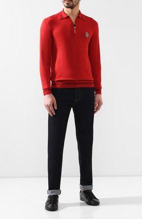 Мужское поло из смеси хлопка и шерсти BILLIONAIRE красного цвета, арт. B19C MK00465 BTE038N | Фото 2