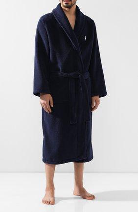 Мужской хлопковый халат POLO RALPH LAUREN темно-синего цвета, арт. 714515731 | Фото 2