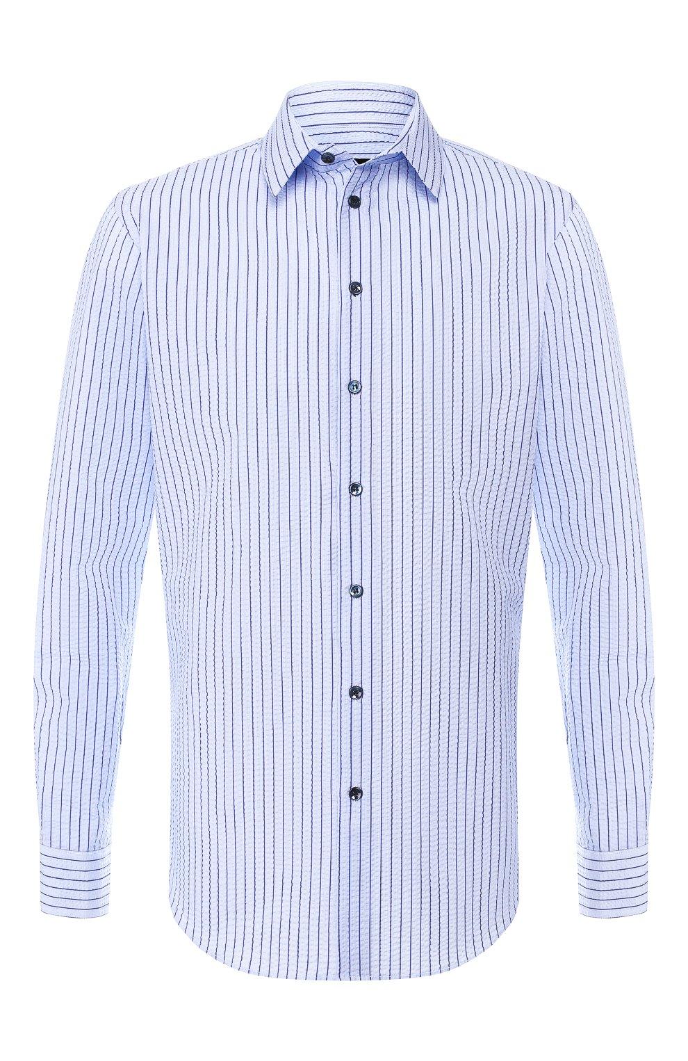 Мужская хлопковая рубашка с воротником кент GIORGIO ARMANI синего цвета, арт. 8WGCCZ97/TZ228 | Фото 1