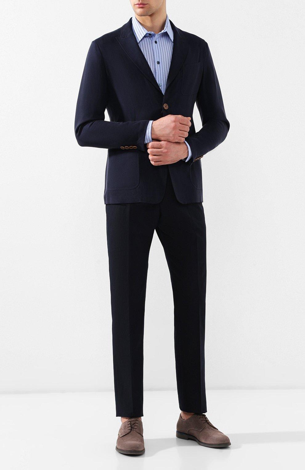 Мужская хлопковая рубашка с воротником кент GIORGIO ARMANI синего цвета, арт. 8WGCCZ97/TZ228 | Фото 2