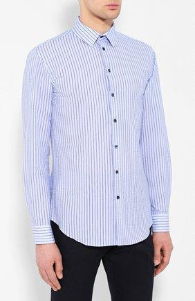 Мужская хлопковая рубашка с воротником кент GIORGIO ARMANI синего цвета, арт. 8WGCCZ97/TZ228 | Фото 3