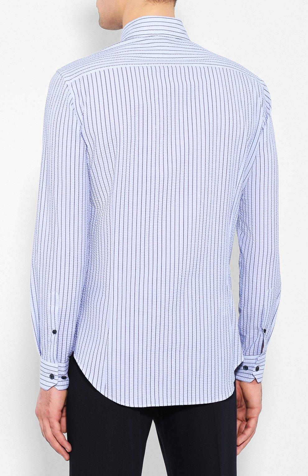 Мужская хлопковая рубашка с воротником кент GIORGIO ARMANI синего цвета, арт. 8WGCCZ97/TZ228 | Фото 4