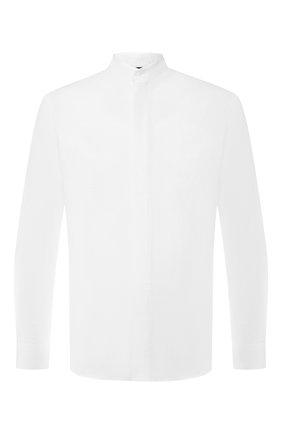 Мужская хлопковая рубашка с воротником мандарин GIORGIO ARMANI белого цвета, арт. 9SGCCZ10/TZ211   Фото 1