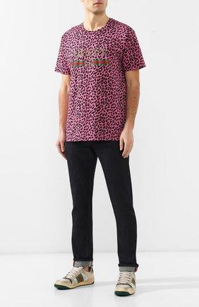 Мужская хлопковая футболка  GUCCI фуксия цвета, арт. 548334/XJAKG   Фото 2