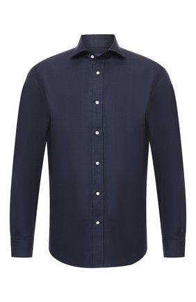 Мужская льняная рубашка RALPH LAUREN синего цвета, арт. 791750046 | Фото 1 (Материал внешний: Лен; Статус проверки: Проверено; Длина (для топов): Стандартные; Рукава: Длинные; Случай: Повседневный)