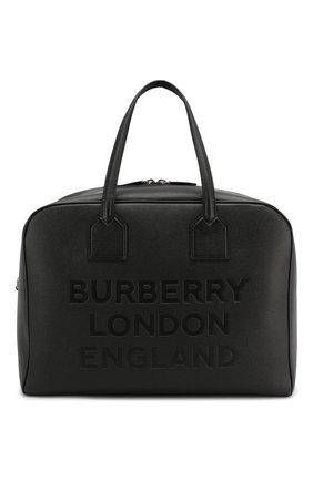 Мужская кожаная дорожная сумка BURBERRY черного цвета, арт. 8012524 | Фото 1