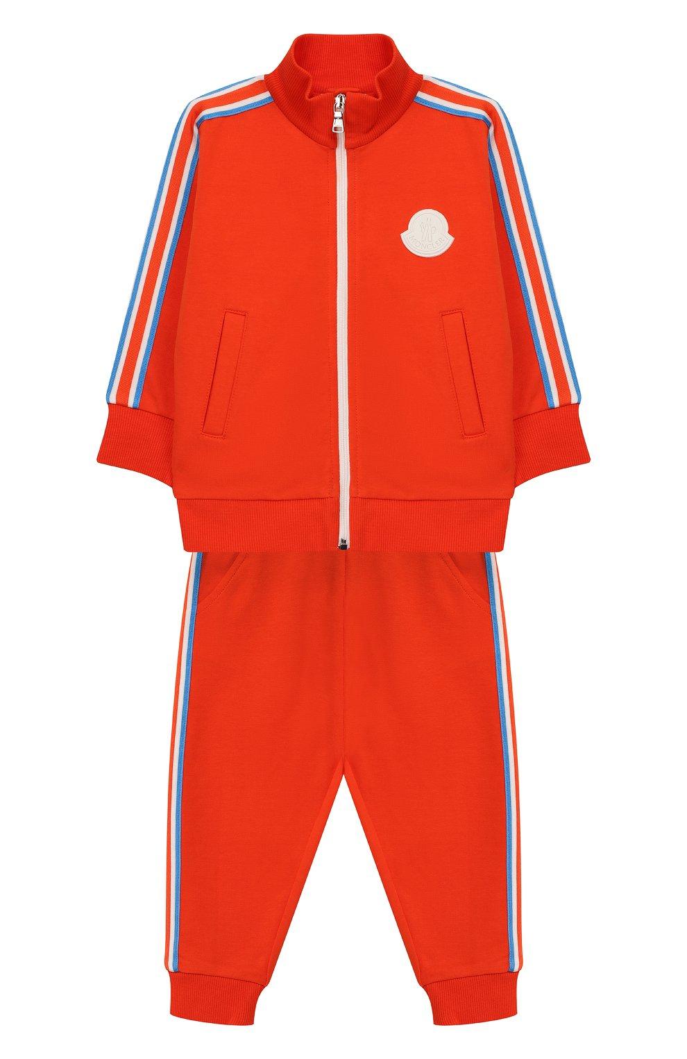 Детский комплект из хлопкового кардигана и брюк MONCLER ENFANT оранжевого цвета, арт. E1-951-88126-05-809AC | Фото 1