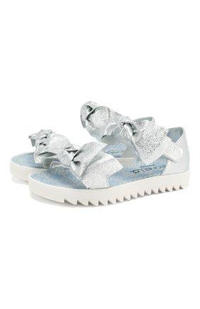Детские кожаные сандалии SIMONETTA серебряного цвета, арт. 60263/36-41 | Фото 1