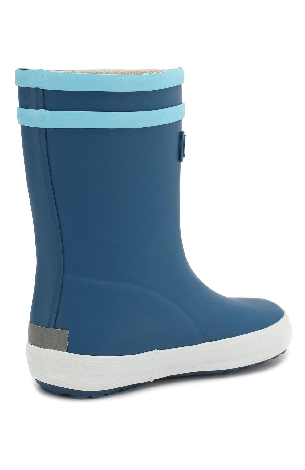 Детские резиновые сапоги AIGLE синего цвета, арт. 382501/BABY FLAC FUN   Фото 3