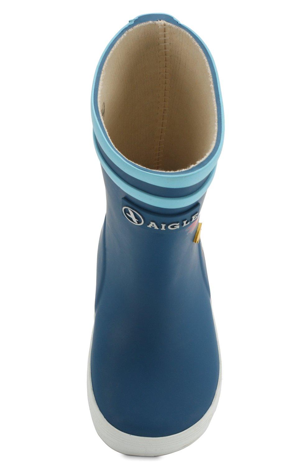 Детские резиновые сапоги AIGLE синего цвета, арт. 382501/BABY FLAC FUN   Фото 4
