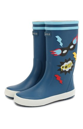 Детские резиновые сапоги AIGLE синего цвета, арт. 382603/L0LLY P0P FUN | Фото 1