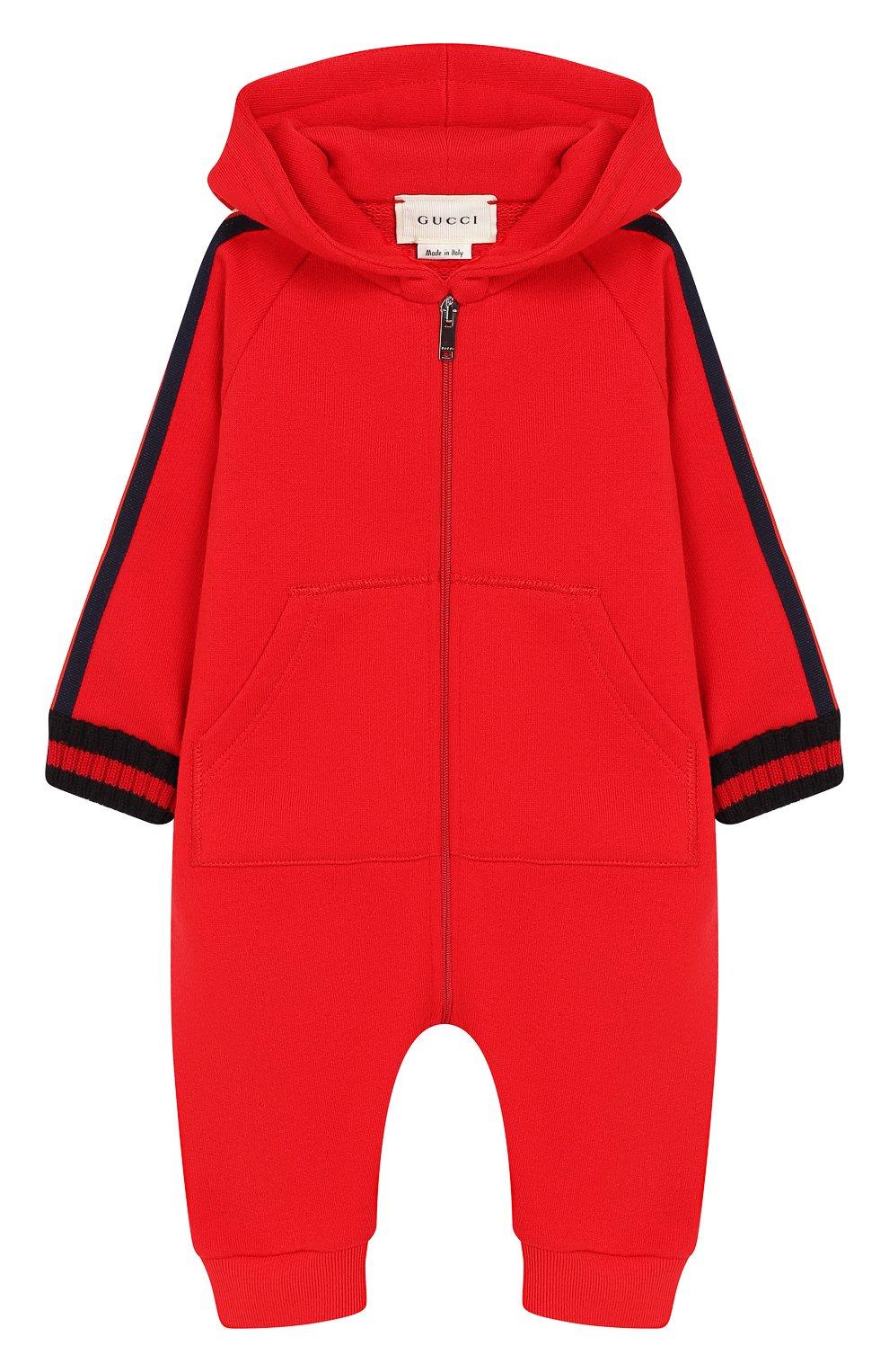 Детский хлопковый комбинезон GUCCI красного цвета, арт. 516315/X9L52   Фото 1