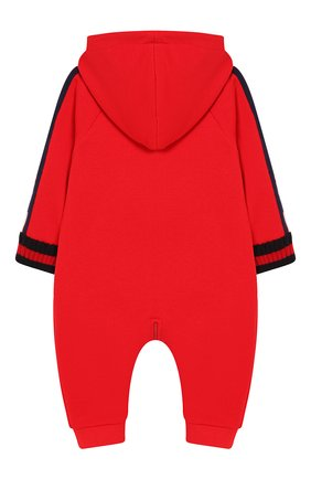 Детский хлопковый комбинезон GUCCI красного цвета, арт. 516315/X9L52   Фото 2