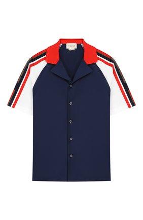 Детская хлопковая рубашка GUCCI синего цвета, арт. 540731/XWAAN | Фото 1