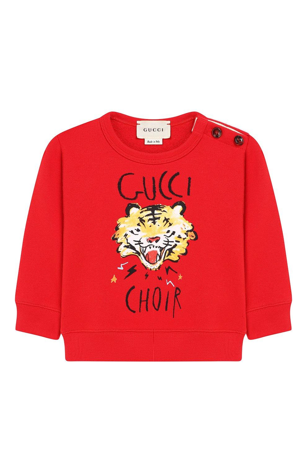 Детский хлопковый свитшот GUCCI красного цвета, арт. 548128/XJAJH   Фото 1