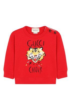 Детский хлопковый свитшот GUCCI красного цвета, арт. 548128/XJAJH | Фото 1