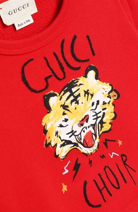 Детский хлопковый свитшот GUCCI красного цвета, арт. 548128/XJAJH   Фото 3