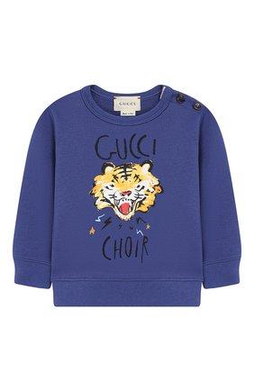 Детский хлопковый свитшот GUCCI синего цвета, арт. 548128/XJAJH | Фото 1