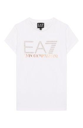 Детская хлопковая футболка EA 7 белого цвета, арт. 3GFT53/FJ29Z | Фото 1
