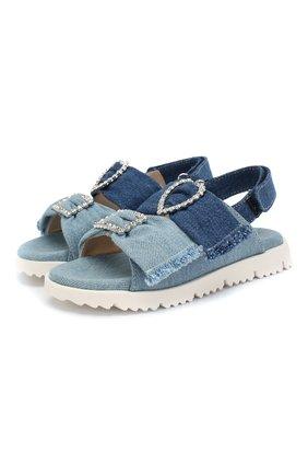 Детские кожаные босоножки ERMANNO SCERVINO голубого цвета, арт. 60962/28-35 | Фото 1