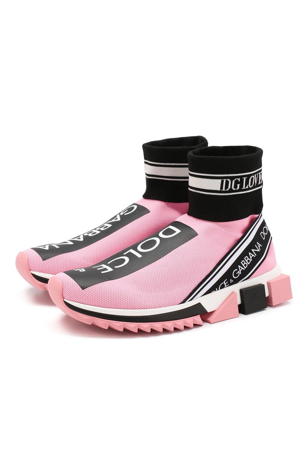 Текстильные кроссовки Sorrento Dolce & Gabbana розовые | Фото №1