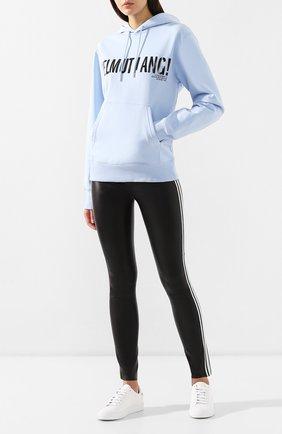 Женские кожаные леггинсы SPRWMN черно-белого цвета, арт. ATH-003-L/ANKLE W 2 STRIPES | Фото 2