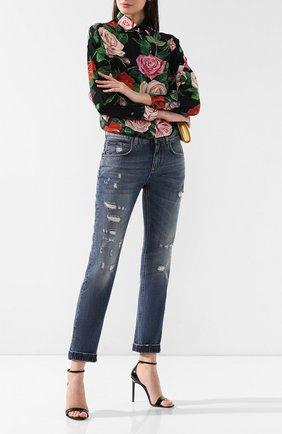Женские джинсы с потертостями DOLCE & GABBANA синего цвета, арт. FTBI2Z/G8X99   Фото 2