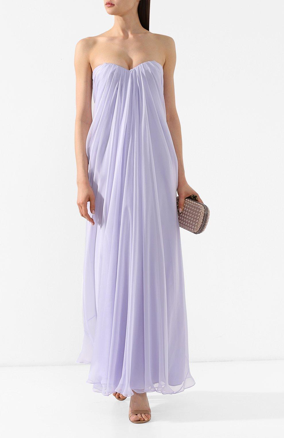 Шелковое платье Alexander McQueen сиреневое | Фото №2