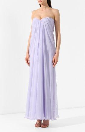 Шелковое платье Alexander McQueen сиреневое | Фото №3