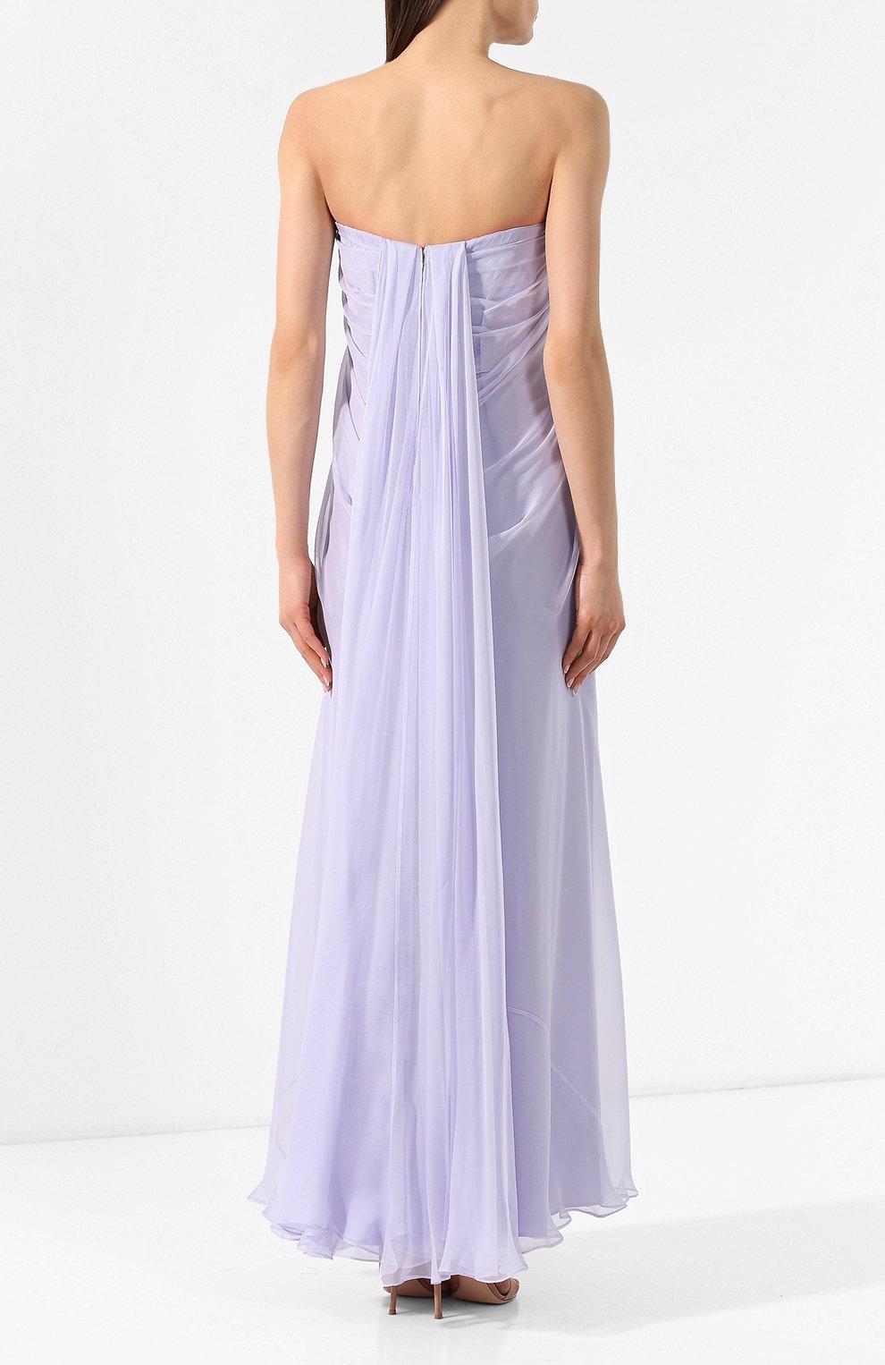 Шелковое платье Alexander McQueen сиреневое | Фото №4