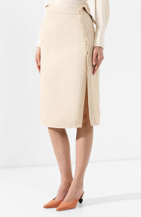 Женская джинсовая юбка JACQUEMUS бежевого цвета, арт. 191DE05/70130 | Фото 3