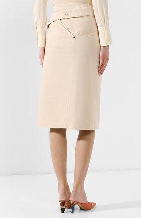 Женская джинсовая юбка JACQUEMUS бежевого цвета, арт. 191DE05/70130 | Фото 4