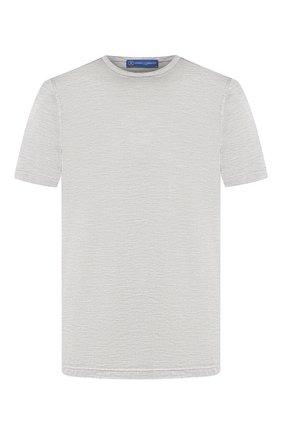 Мужская шелковая футболка ANDREA CAMPAGNA светло-серого цвета, арт. 60158/78301 | Фото 1