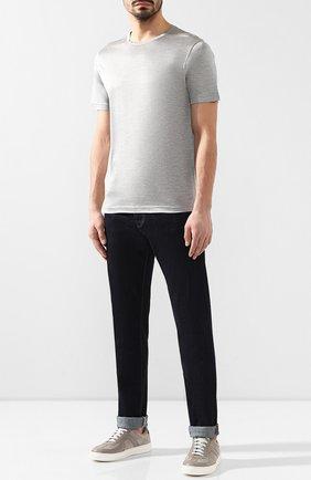 Мужская шелковая футболка ANDREA CAMPAGNA светло-серого цвета, арт. 60158/78301 | Фото 2