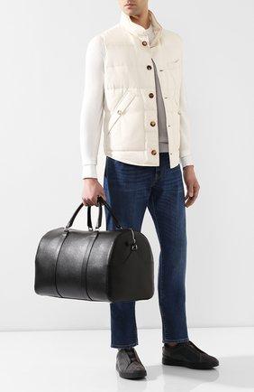 Мужская кожаная дорожная сумка CANALI черного цвета, арт. P325158/NA00053 | Фото 2 (Материал: Натуральная кожа; Ремень/цепочка: На ремешке)
