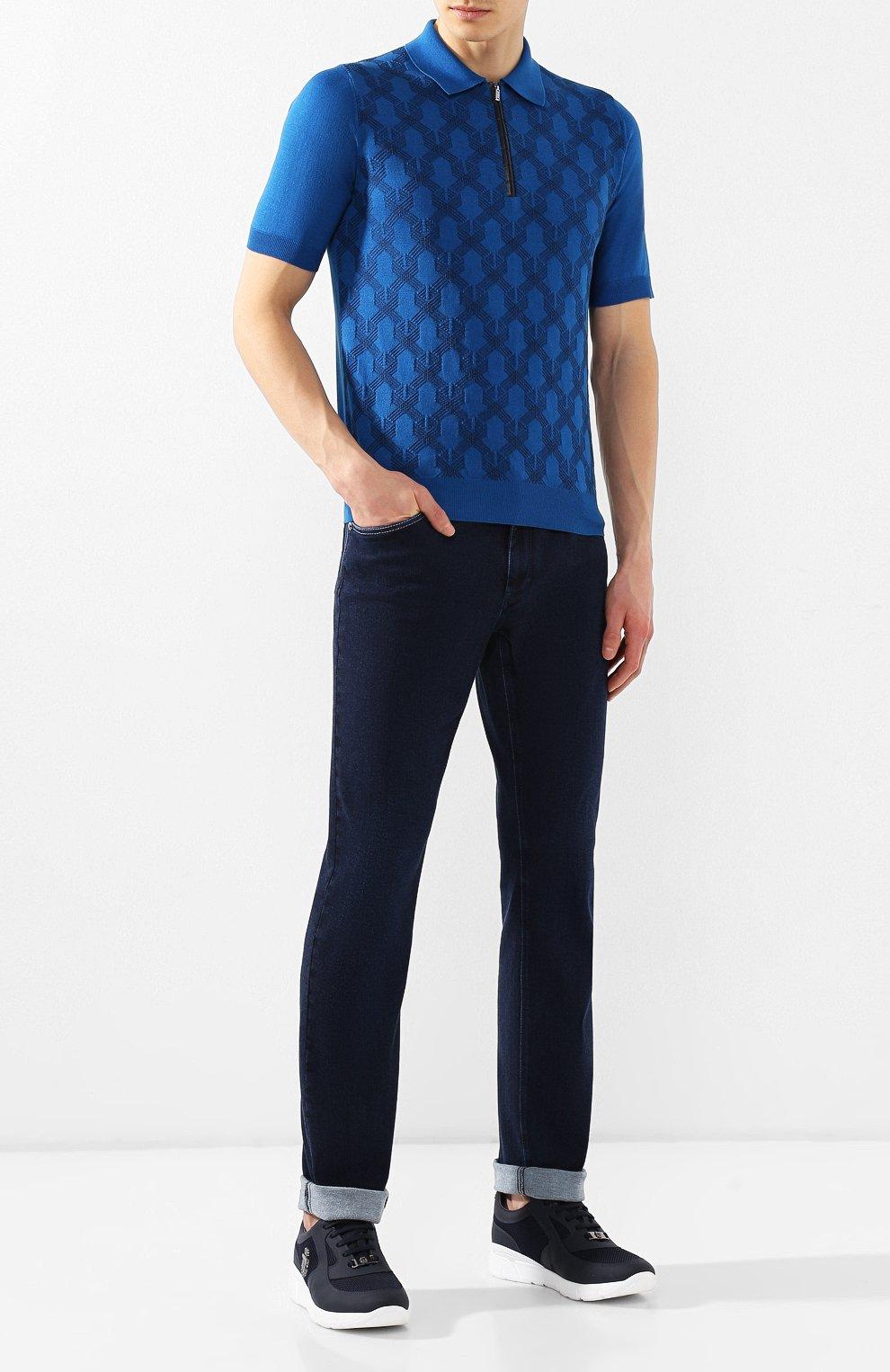 Мужские джинсы прямого кроя ZILLI темно-синего цвета, арт. MCR-00012-DEJA1/S001   Фото 2