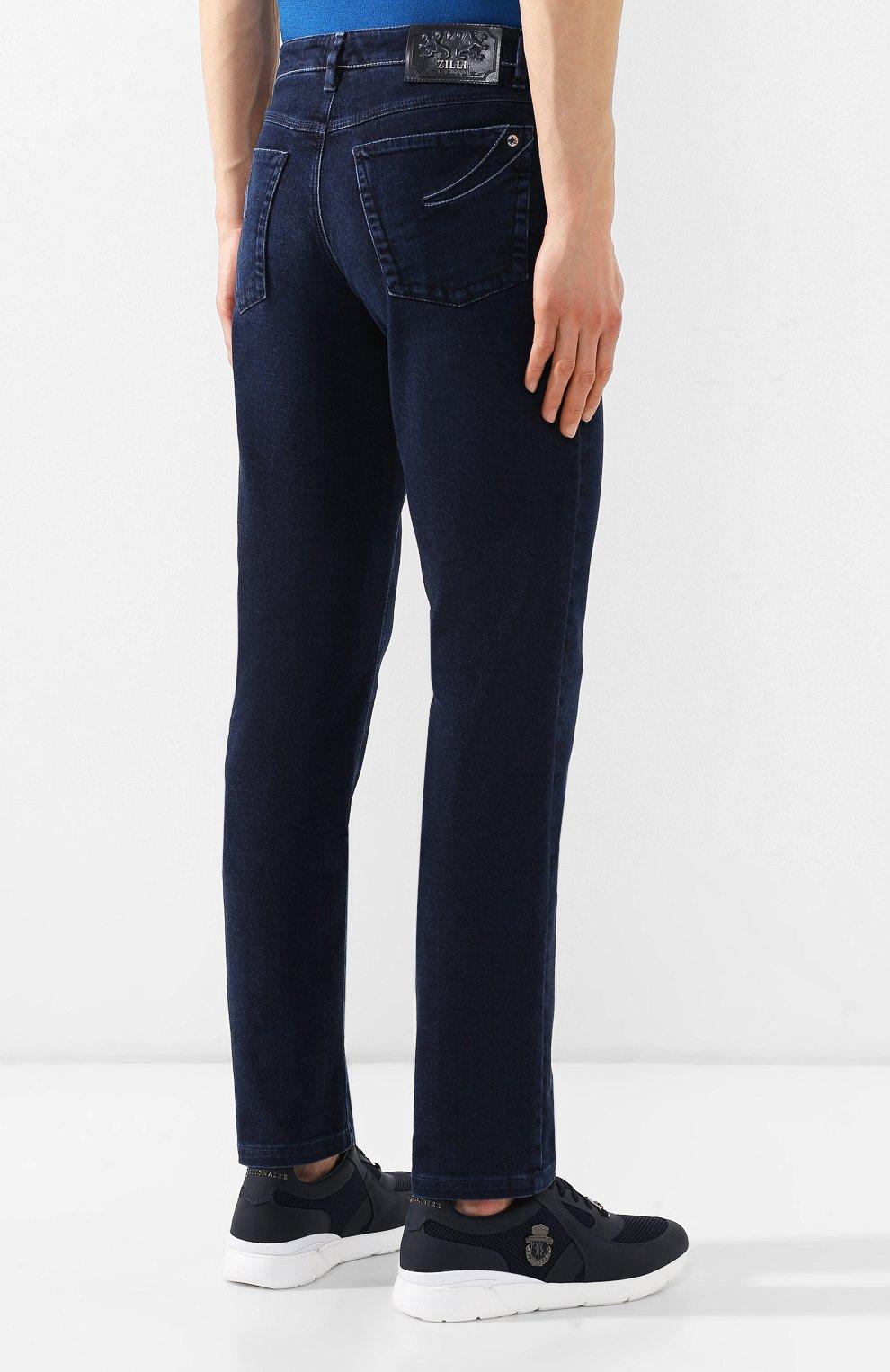 Мужские джинсы прямого кроя ZILLI темно-синего цвета, арт. MCR-00012-DEJA1/S001   Фото 4