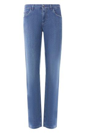 Мужские джинсы с отделкой из кожи аллигатора ZILLI синего цвета, арт. MCR-00034-EUDE2/R001/AMIS | Фото 1