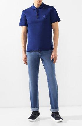 Мужские джинсы с отделкой из кожи аллигатора ZILLI синего цвета, арт. MCR-00034-EUDE2/R001/AMIS | Фото 2