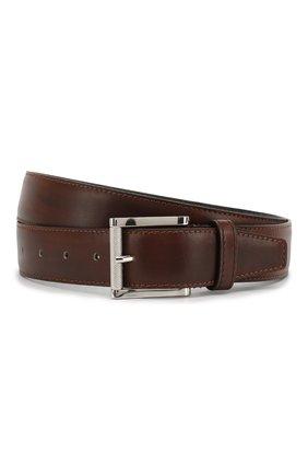 Мужской кожаный ремень KITON коричневого цвета, арт. USC492PN00101 | Фото 1