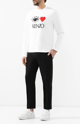 Мужской хлопковый свитшот KENZO белого цвета, арт. 5SW2074X4   Фото 2