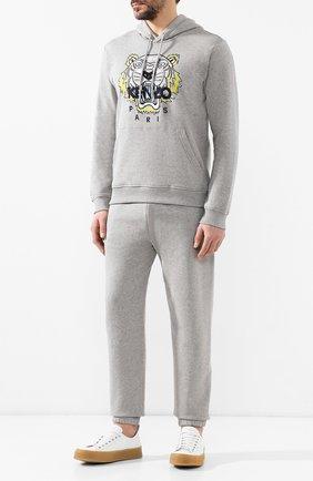 Мужской хлопковое худи  KENZO серого цвета, арт. 5SW4154XA | Фото 2