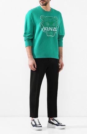 Мужской хлопковый свитшот KENZO зеленого цвета, арт. 5SW5574XE | Фото 2