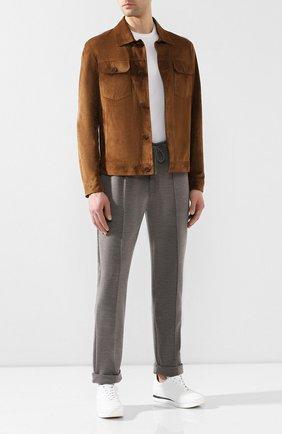 Мужской брюки из смеси хлопка и шерсти RALPH LAUREN серого цвета, арт. 790729513 | Фото 2