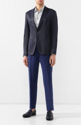 Мужской брюки из смеси хлопка и кашемира ERMENEGILDO ZEGNA синего цвета, арт. 566F15/77TB12 | Фото 2
