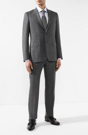 Костюм из смеси шерсти и шелка Brioni серый | Фото №1