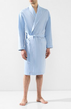 Мужской хлопковый халат ZIMMERLI голубого цвета, арт. 4734-75140 | Фото 2